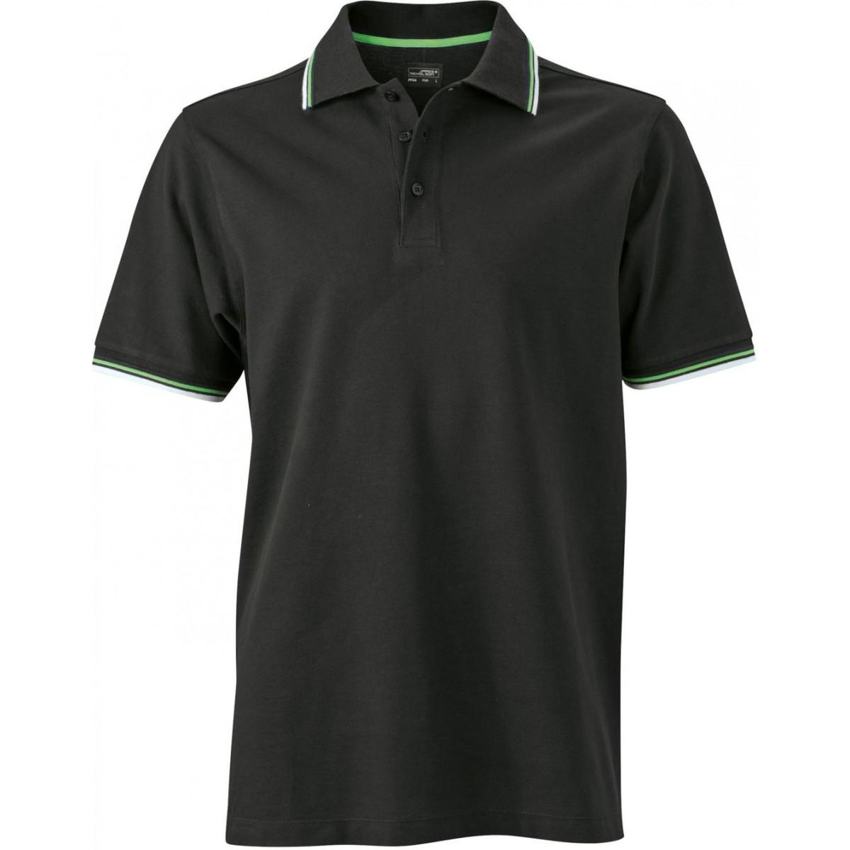 Рубашка поло мужская JN966 Mens coldblack® Polo - Черный/Белый/Лайм