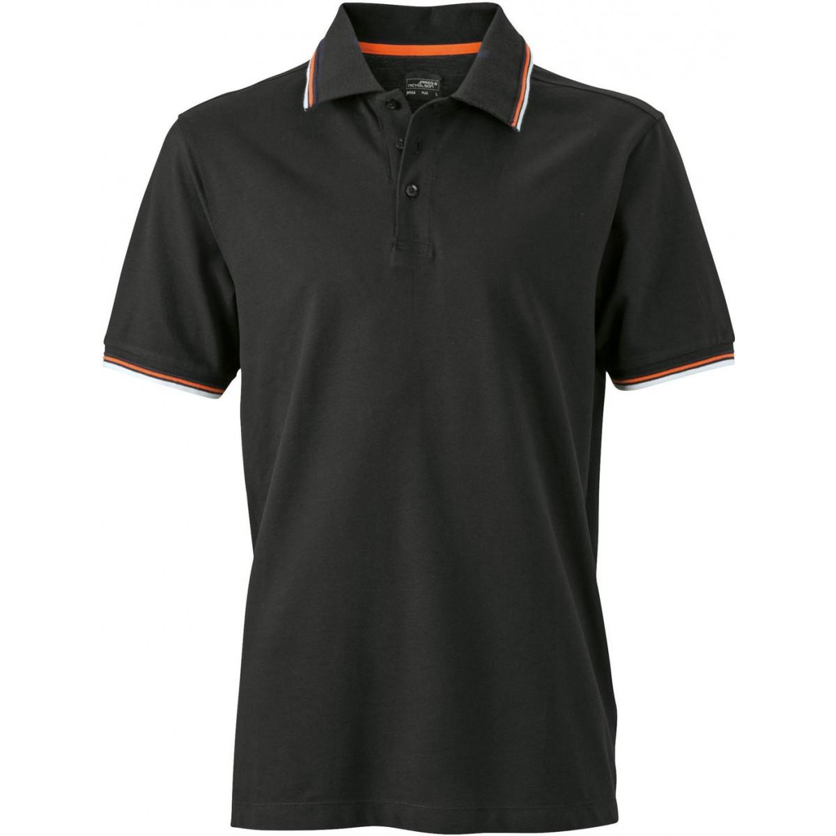 Рубашка поло мужская JN966 Mens coldblack® Polo - Черный/Белый/Оранжевый