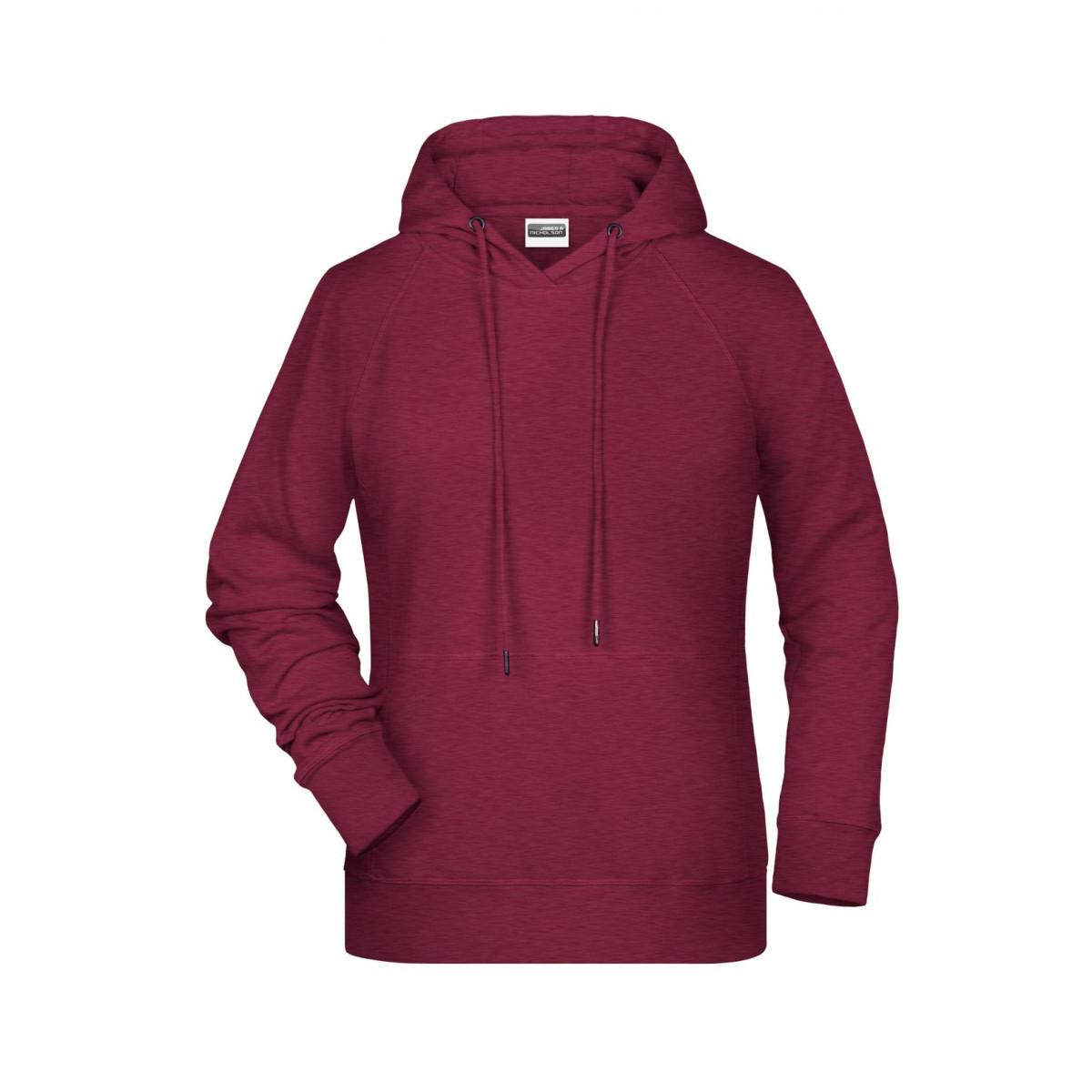 Толстовка женская 8023 Ladies Hoody - Бордовый меланж