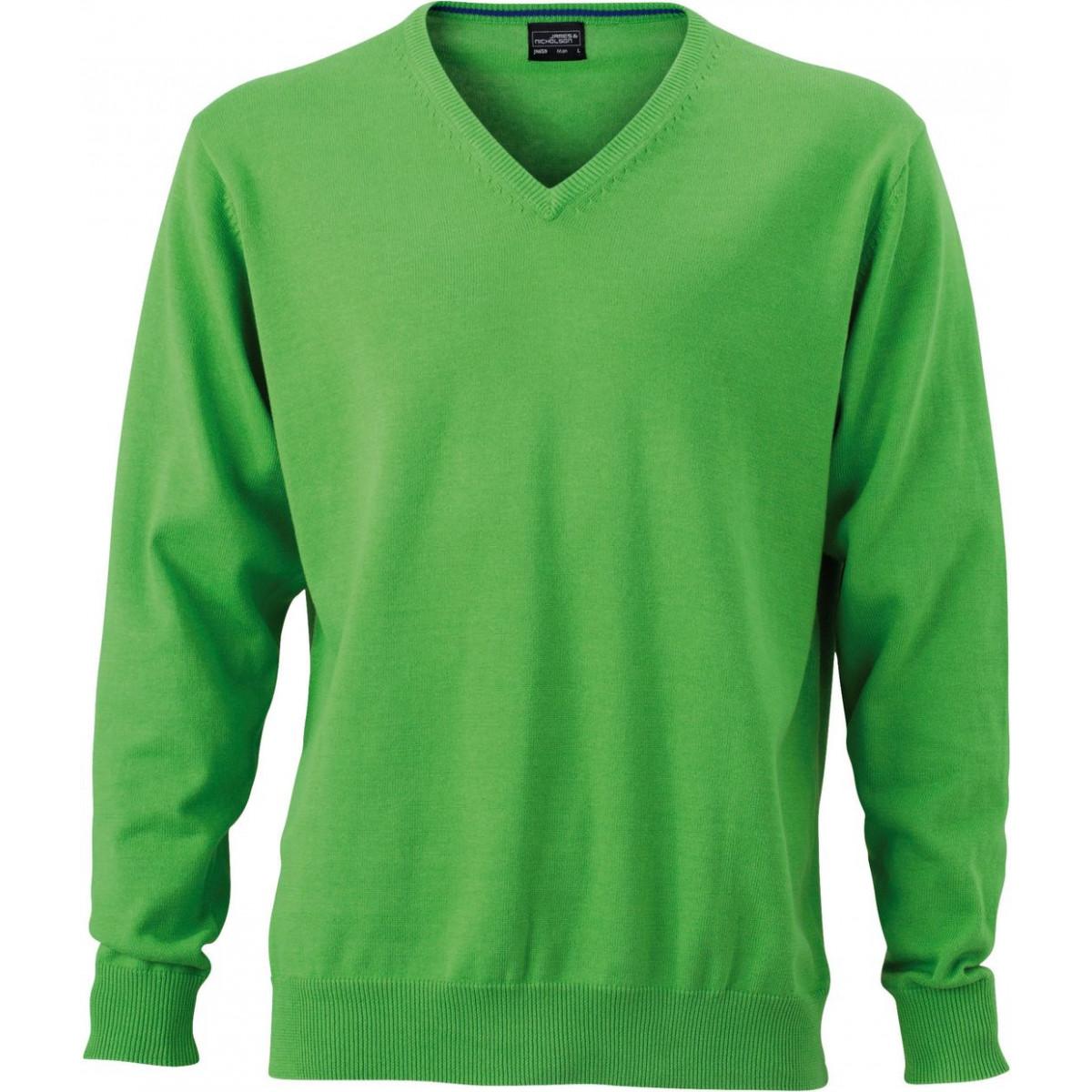 Пуловер мужской JN659 Mens V-Neck Pullover - Насыщенный зеленый