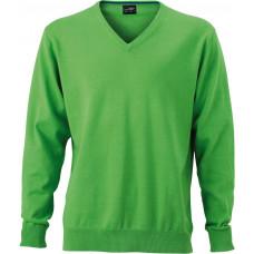 Пуловер мужской JN659 Men's V-Neck Pullover - Насыщенный зеленый