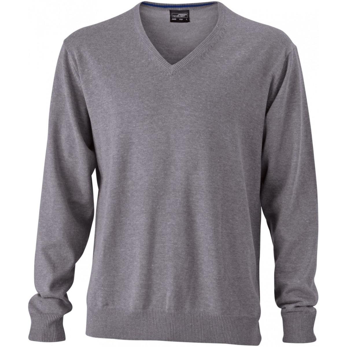 Пуловер мужской JN659 Mens V-Neck Pullover - Серый меланж