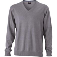 Пуловер мужской JN659 Men's V-Neck Pullover - Серый меланж