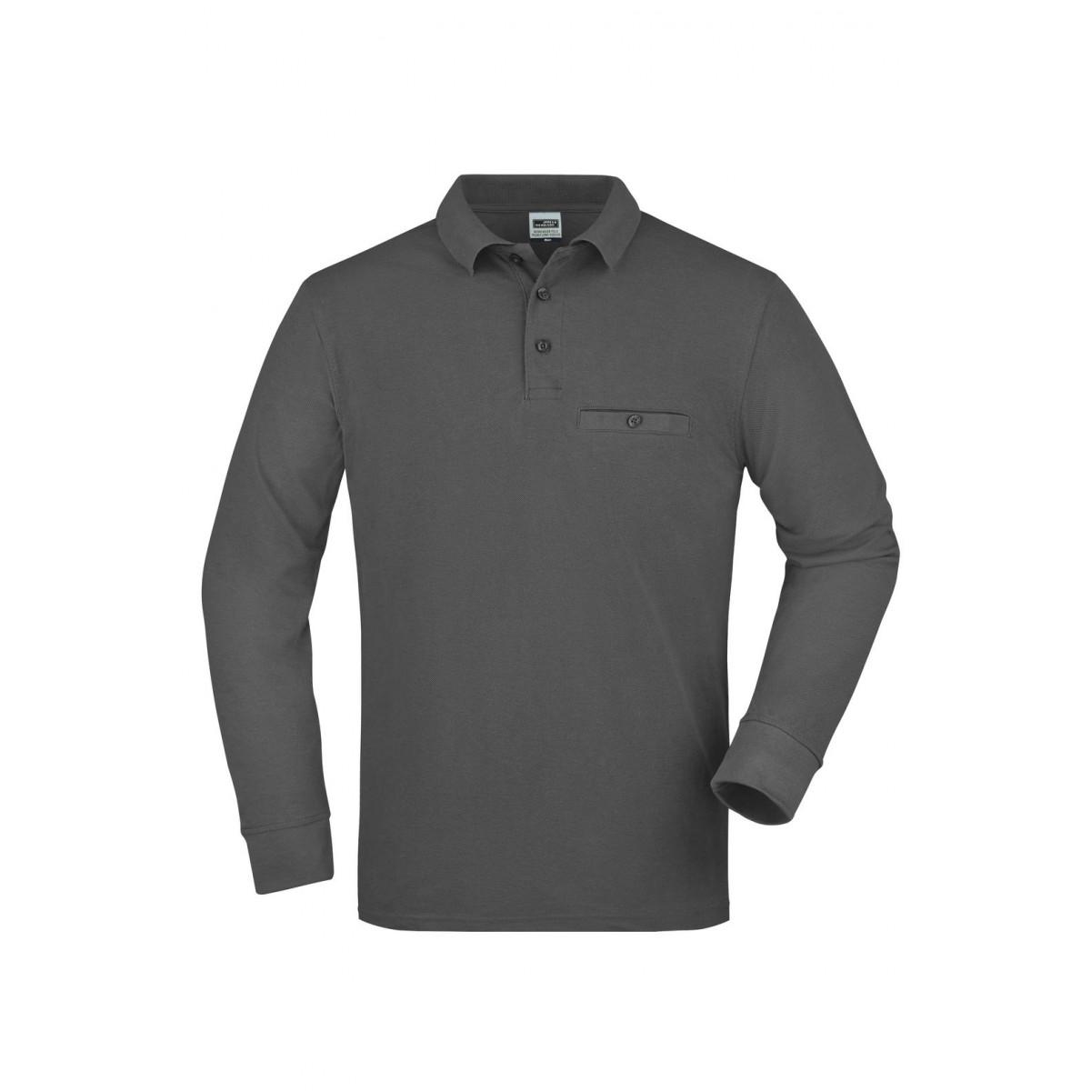 Рубашка поло мужская JN866 Mens Workwear Polo Pocket Longsleeve - Темно-серый