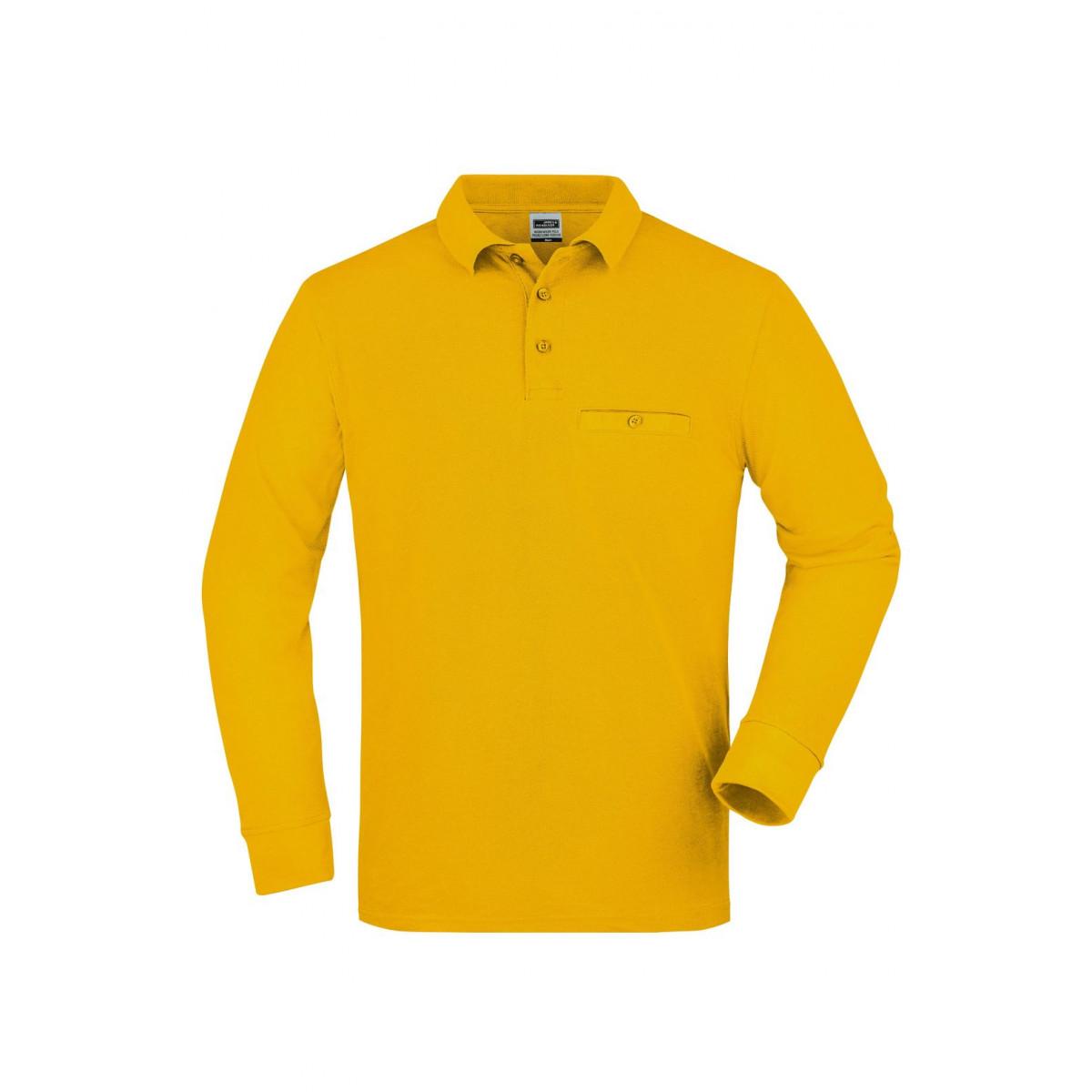 Рубашка поло мужская JN866 Mens Workwear Polo Pocket Longsleeve - Золоистый желтый