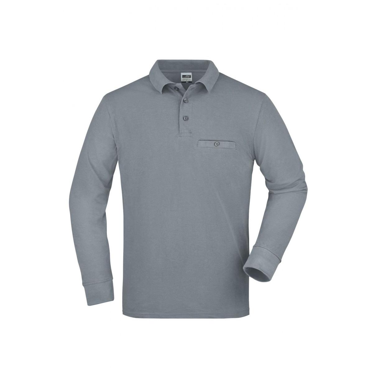 Рубашка поло мужская JN866 Mens Workwear Polo Pocket Longsleeve - Серый меланж