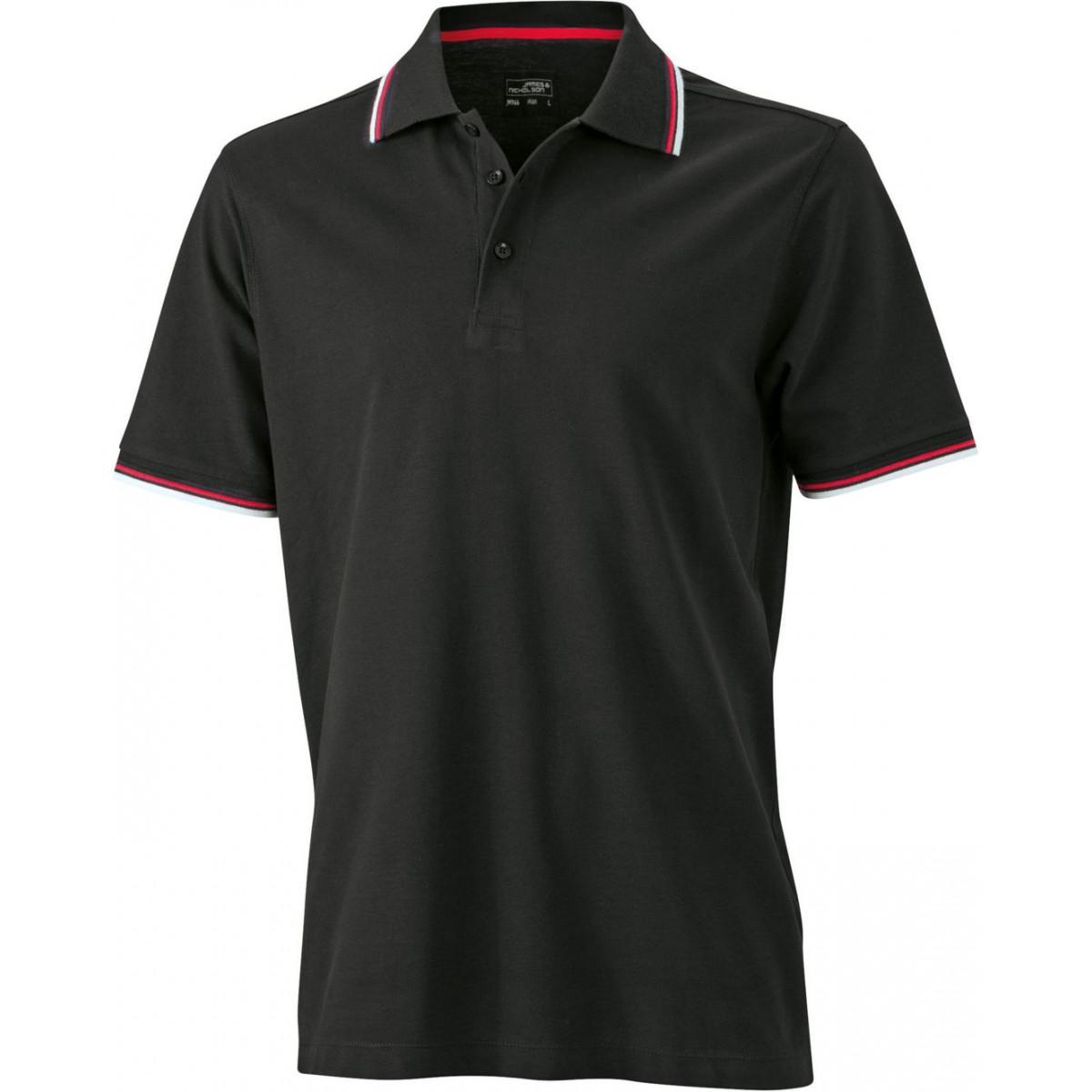 Рубашка поло мужская JN966 Mens coldblack® Polo - Черный/Белый/Красный
