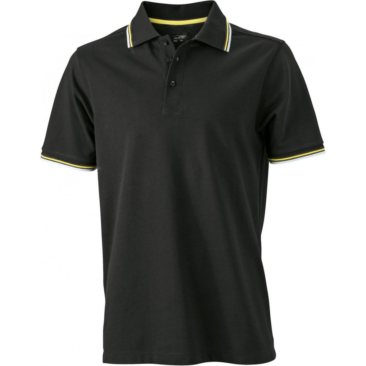 Рубашка поло мужская JN966 Mens coldblack® Polo - Черный/Белый/Желтый