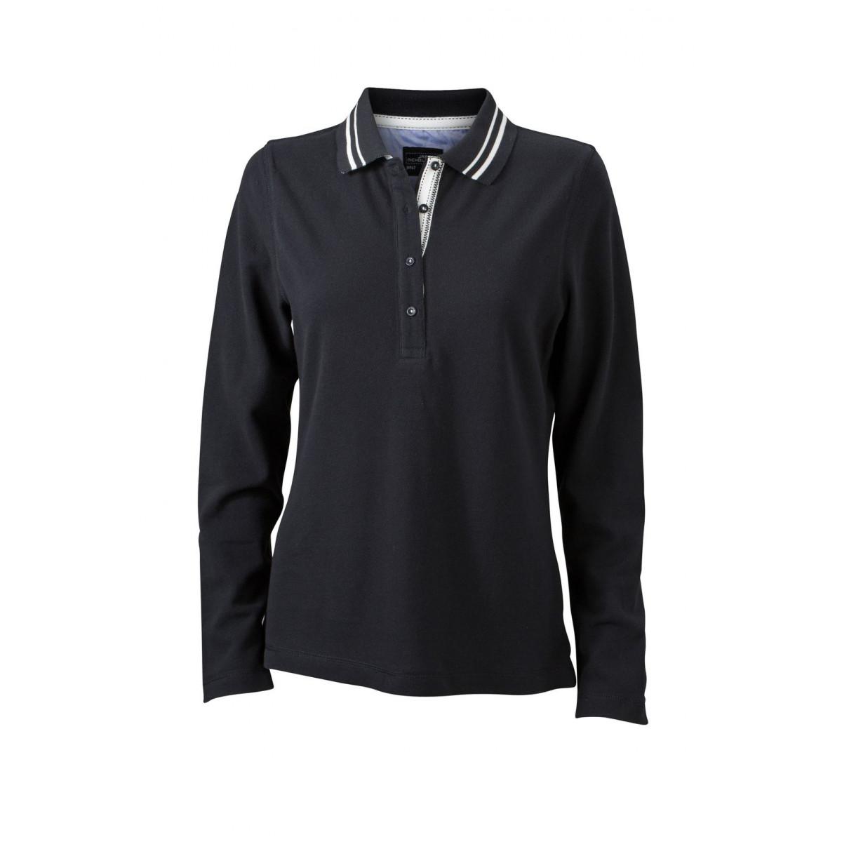 Рубашка поло женская JN967 Ladies Polo Long-Sleeved - Черный/Белый