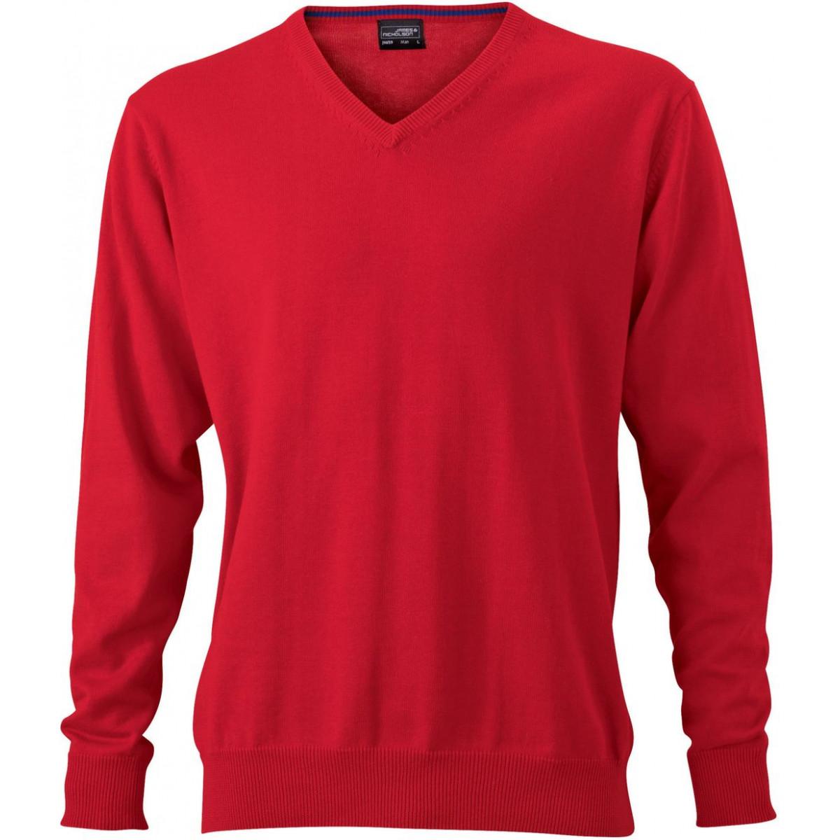 Пуловер мужской JN659 Mens V-Neck Pullover - Красный