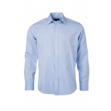 Рубашка мужская JN690 Men's Shirt Longsleeve Heringbone - Светло-голубой