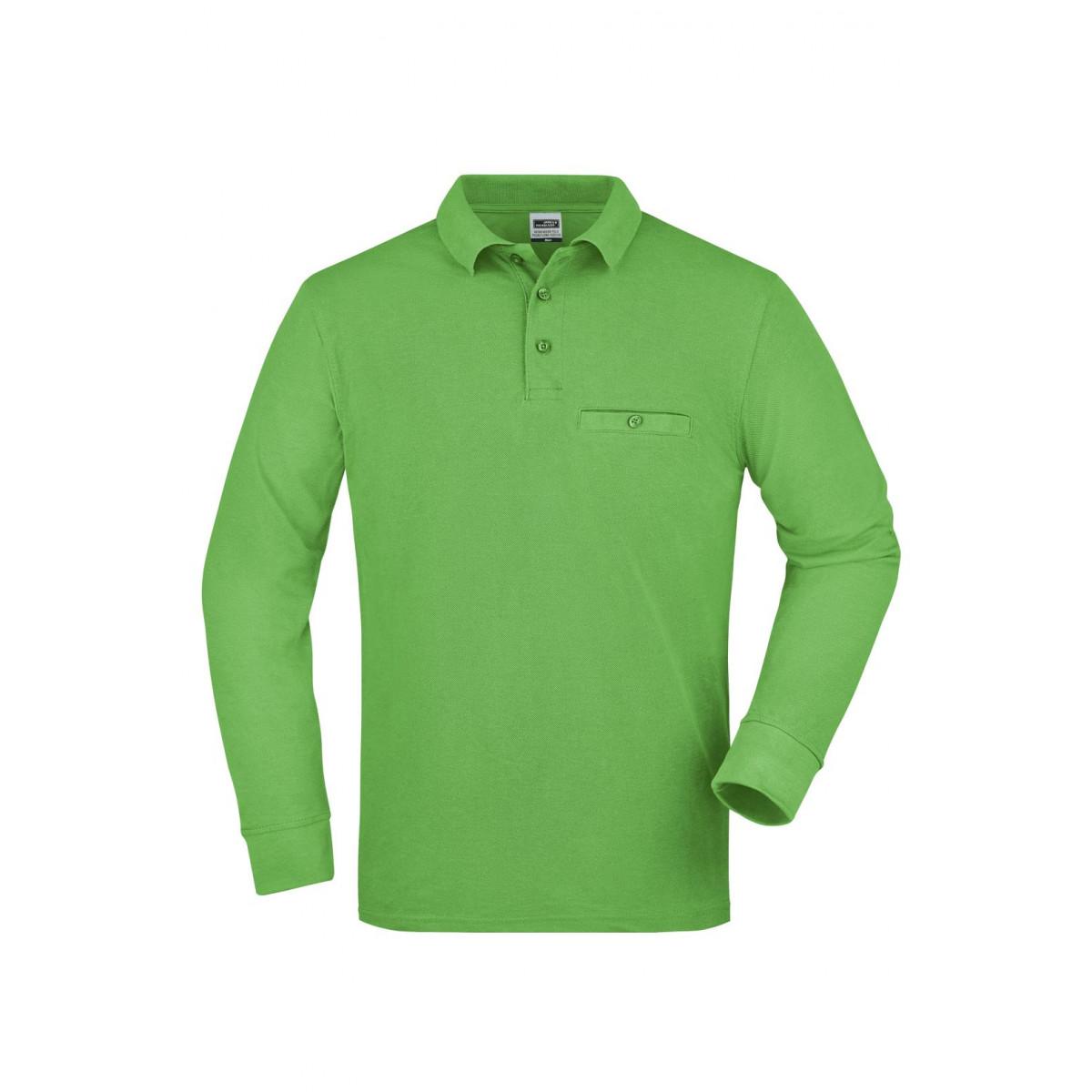 Рубашка поло мужская JN866 Mens Workwear Polo Pocket Longsleeve - Лайм