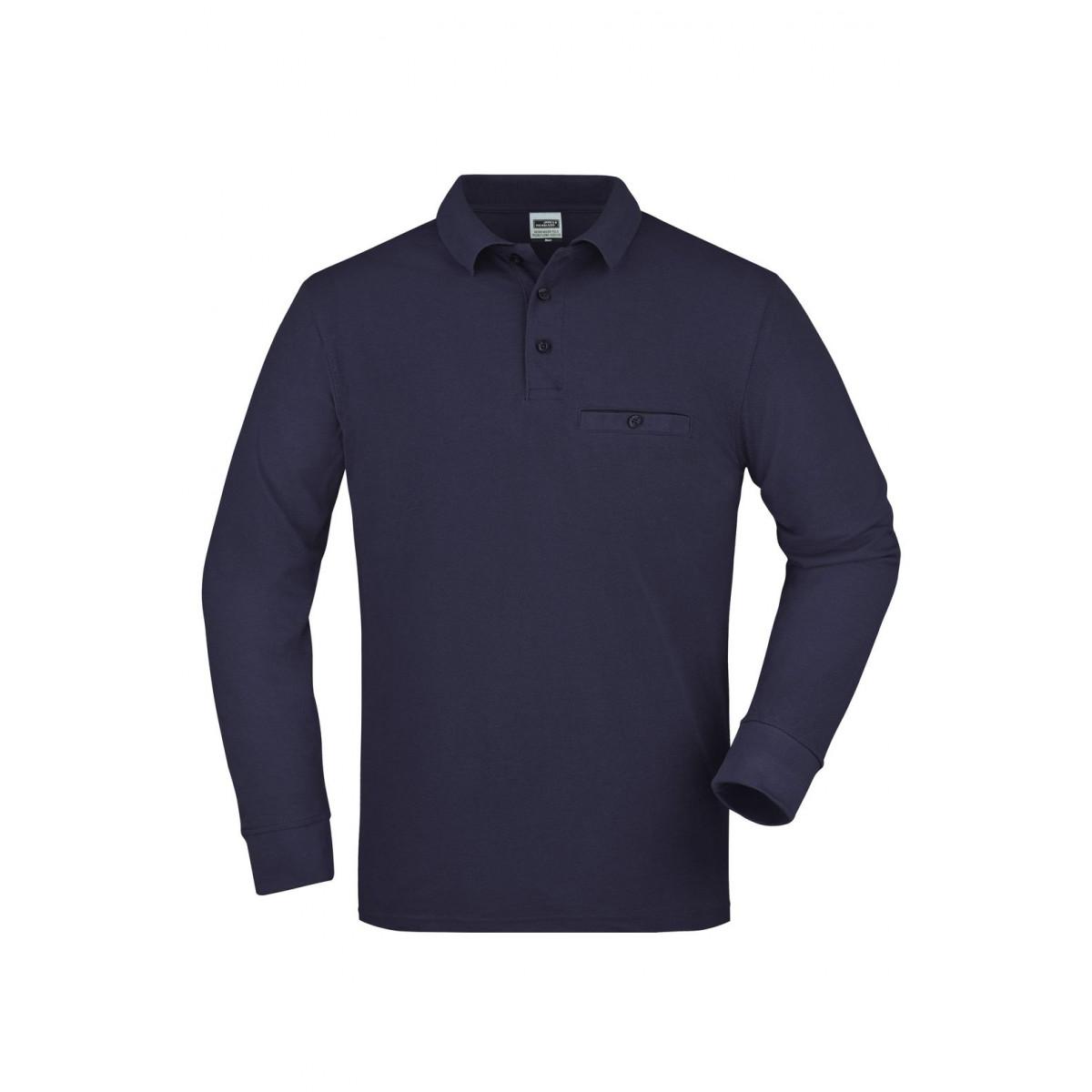 Рубашка поло мужская JN866 Mens Workwear Polo Pocket Longsleeve - Темно-синий