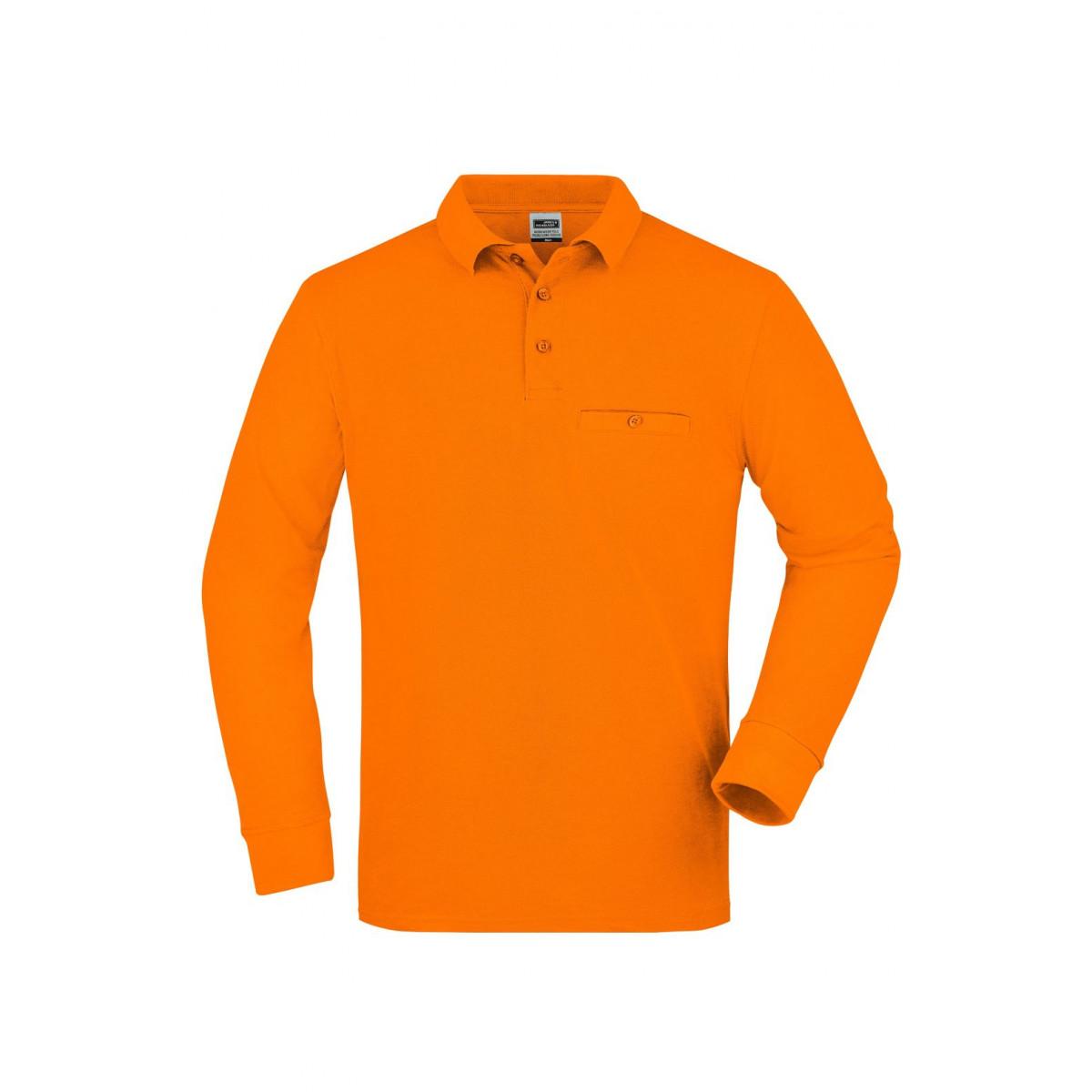 Рубашка поло мужская JN866 Mens Workwear Polo Pocket Longsleeve - Оранжевый