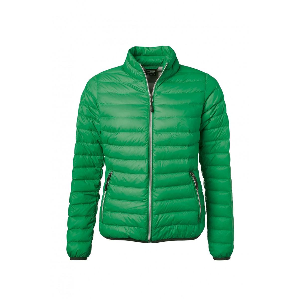 Куртка женская JN1139 Ladies Down Jacket - Насыщенный зеленый/Серебряный