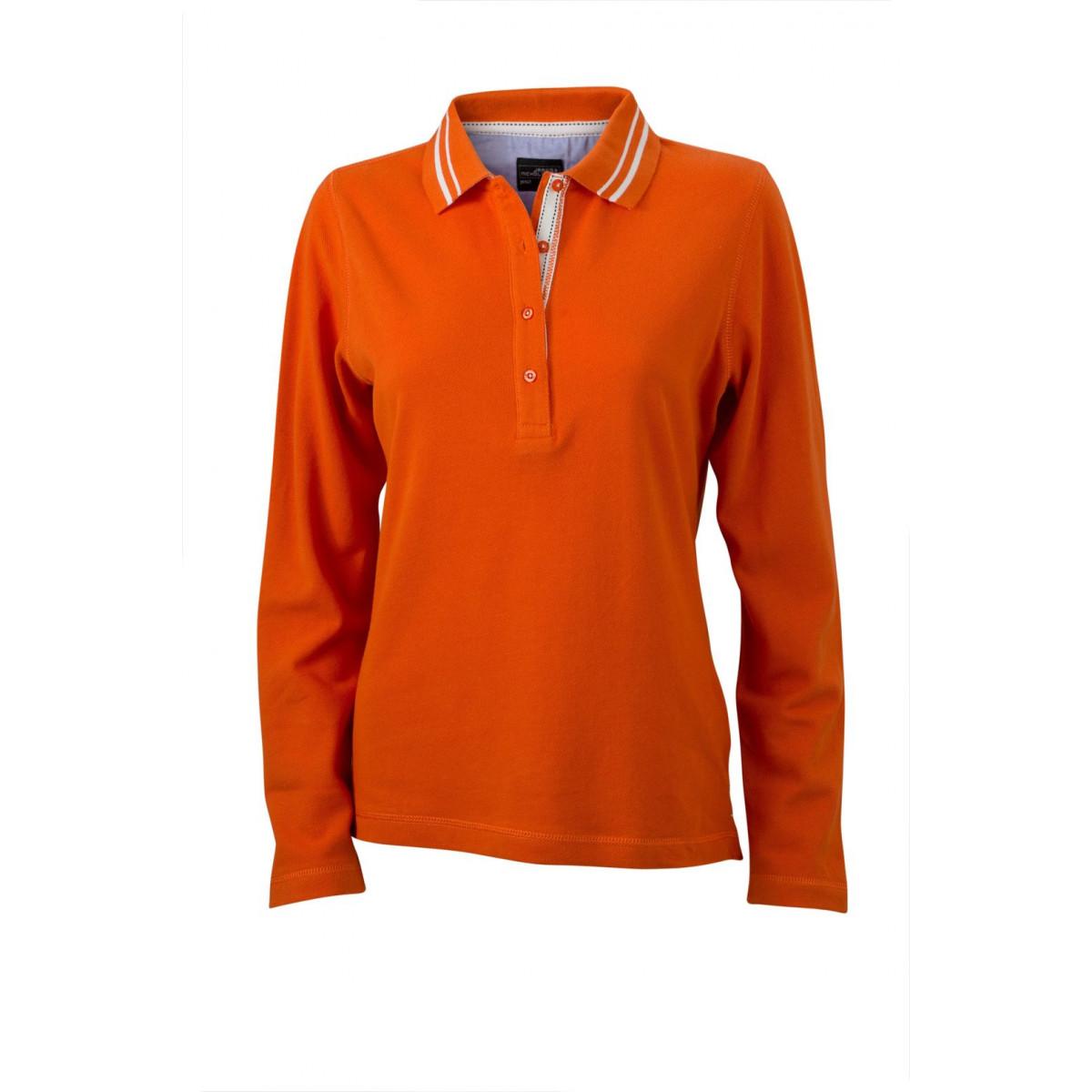 Рубашка поло женская JN967 Ladies Polo Long-Sleeved - Темно-оранжевый/Белый