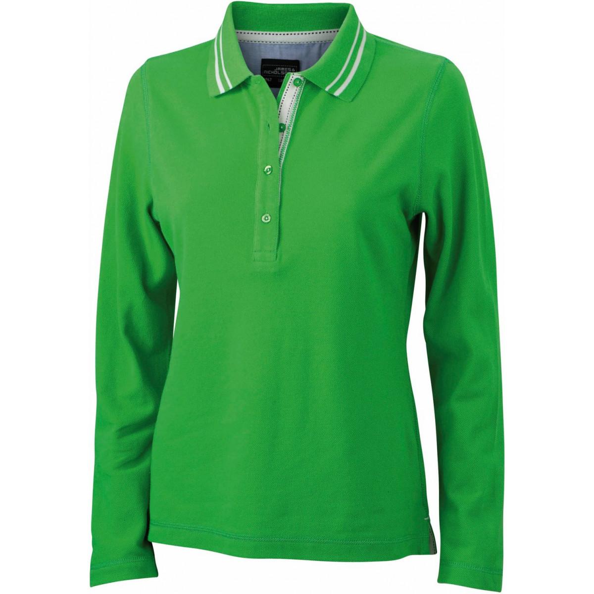 Рубашка поло женская JN967 Ladies Polo Long-Sleeved - Насыщенный зеленый/Белый