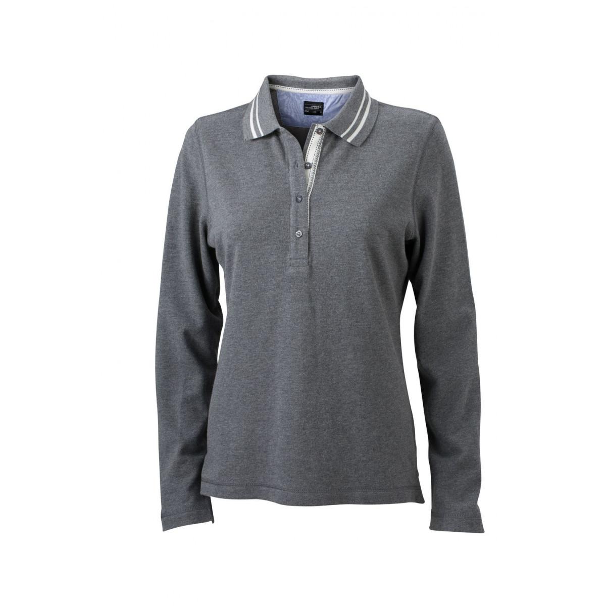 Рубашка поло женская JN967 Ladies Polo Long-Sleeved - Серый меланж/Белый