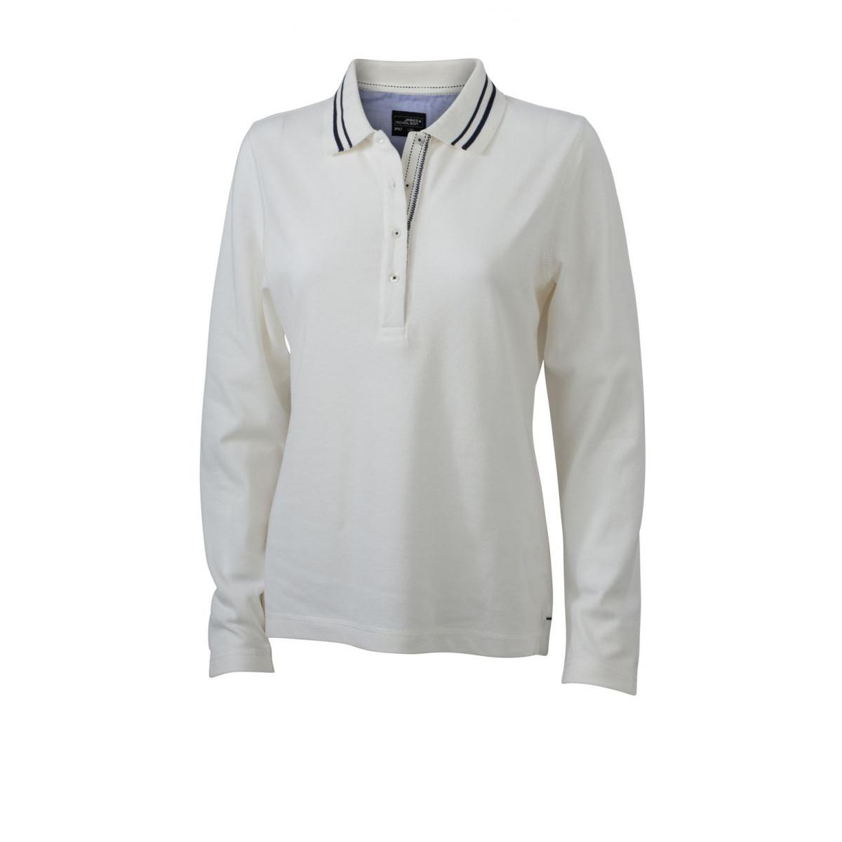Рубашка поло женская JN967 Ladies Polo Long-Sleeved - Белый/Темно-синий