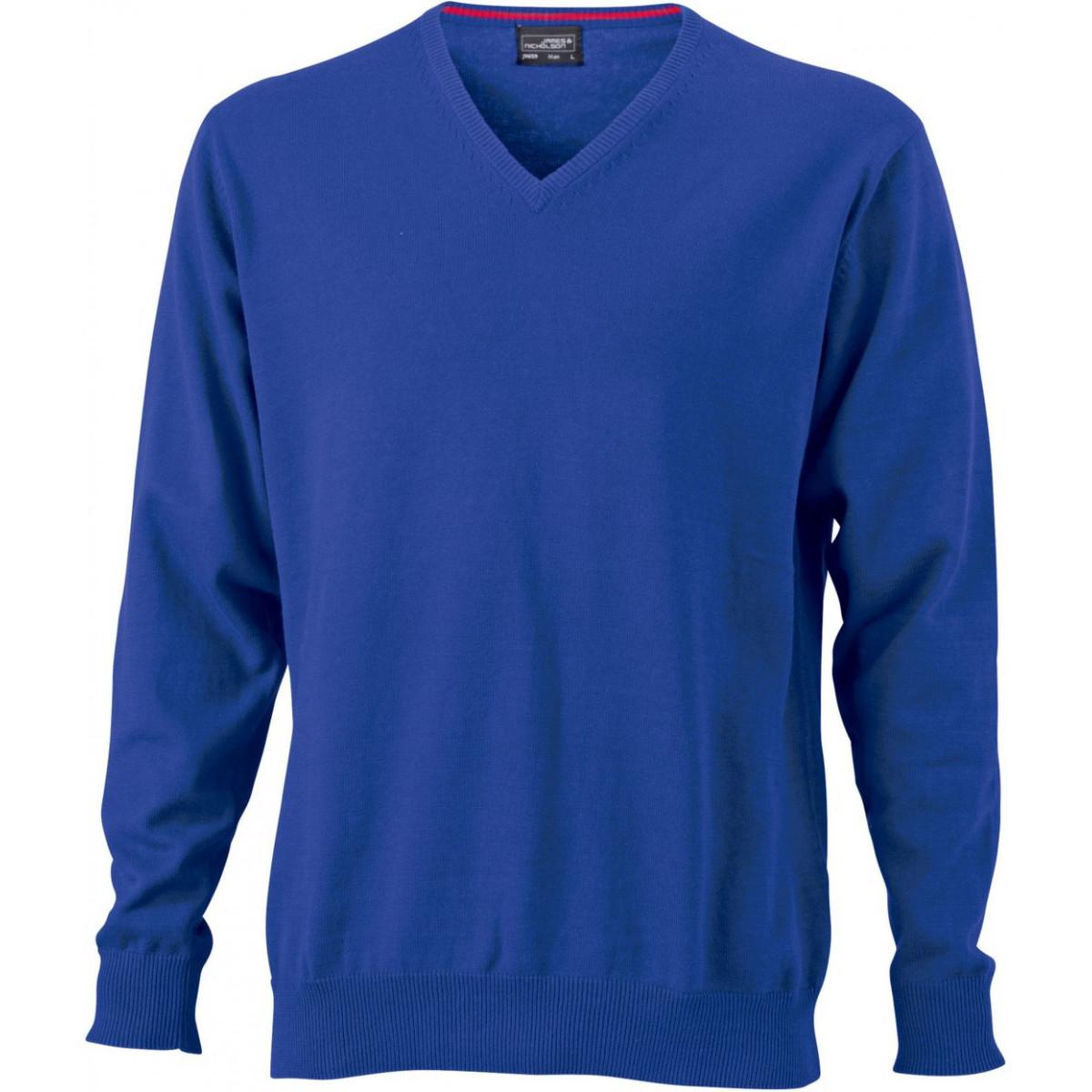 Пуловер мужской JN659 Mens V-Neck Pullover - Ярко-синий