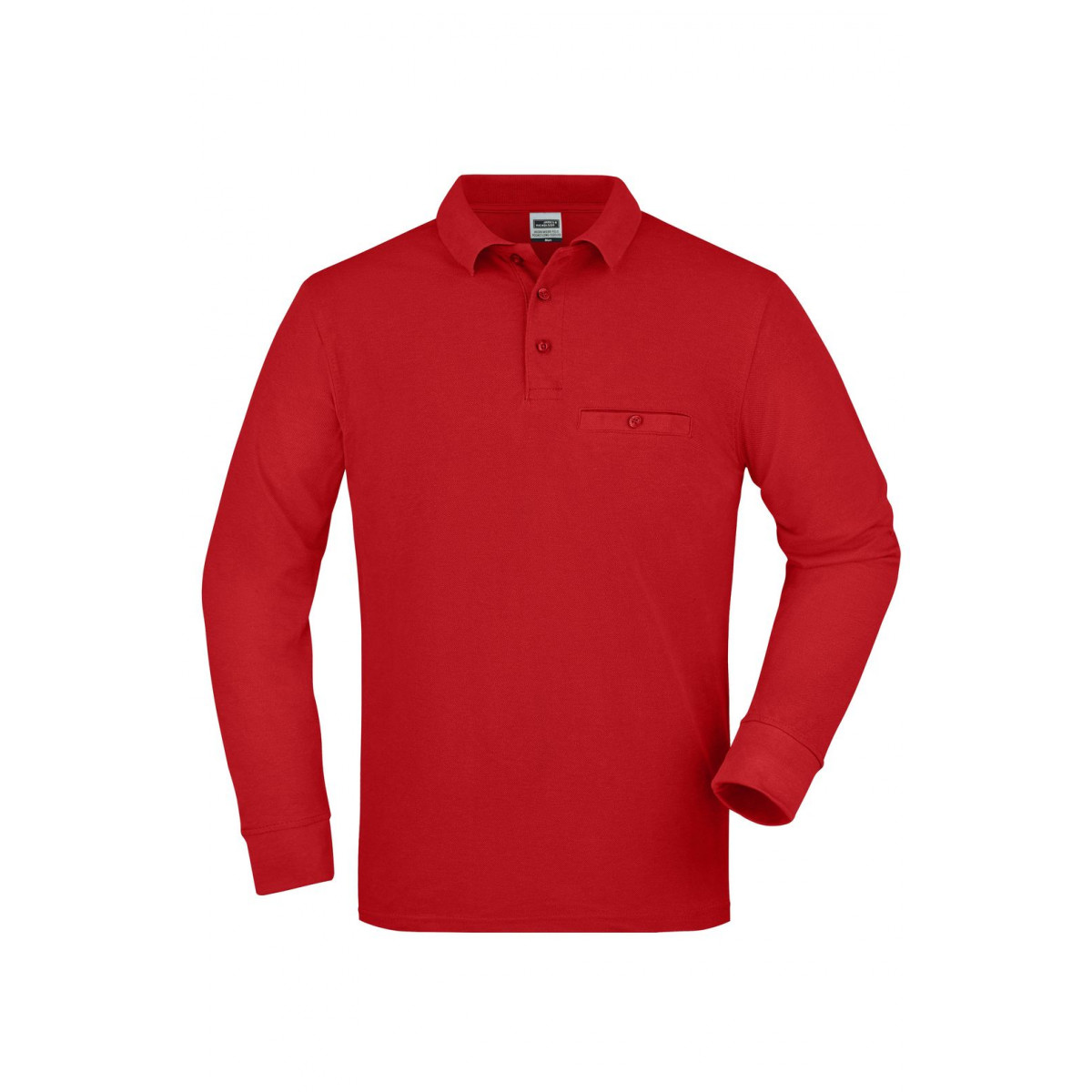 Рубашка поло мужская JN866 Mens Workwear Polo Pocket Longsleeve - Красный