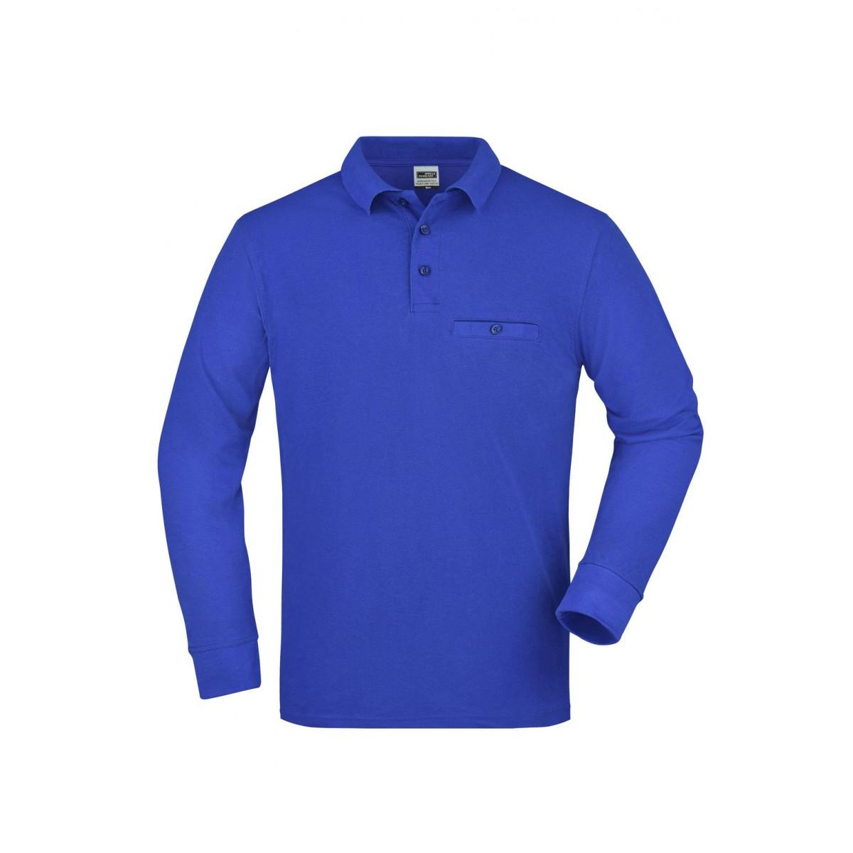 Рубашка поло мужская JN866 Mens Workwear Polo Pocket Longsleeve - Ярко-синий