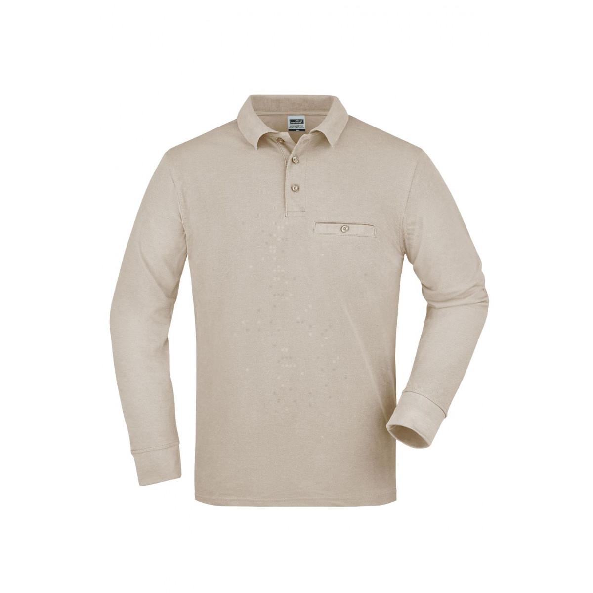 Рубашка поло мужская JN866 Mens Workwear Polo Pocket Longsleeve - Бежевый