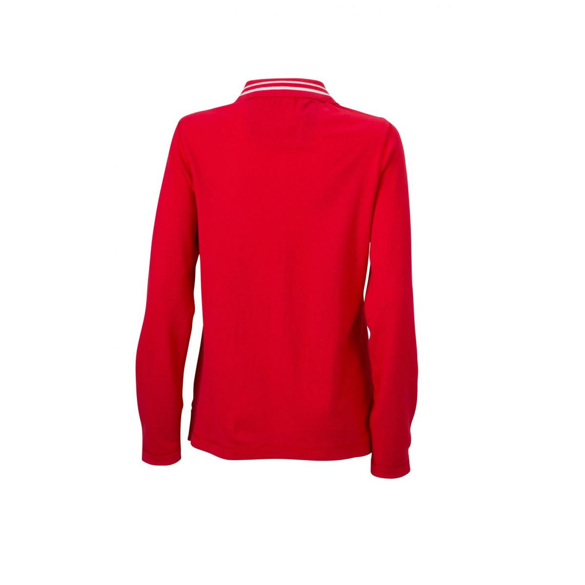 Рубашка поло женская JN967 Ladies Polo Long-Sleeved - Красный/Белый