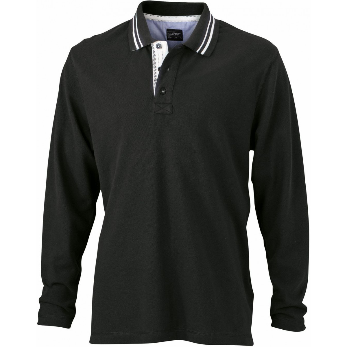 Рубашка поло мужская JN968 Mens Polo Long-Sleeved - Черный/Белый