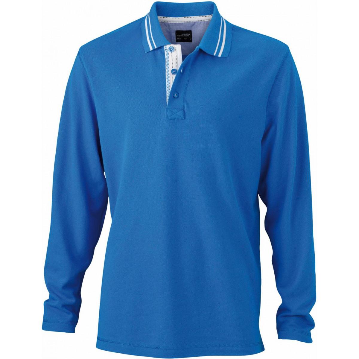 Рубашка поло мужская JN968 Mens Polo Long-Sleeved - Кобальт/Белый