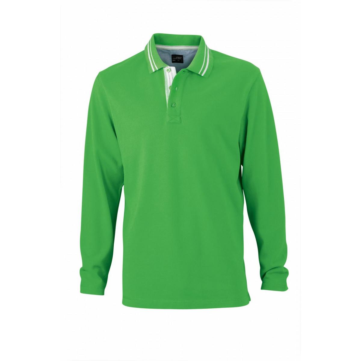 Рубашка поло мужская JN968 Mens Polo Long-Sleeved - Насыщенный зеленый/Белый