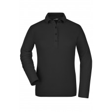 Рубашка поло женская JN180 Ladies' Elastic Polo Long-Sleeved - Черный