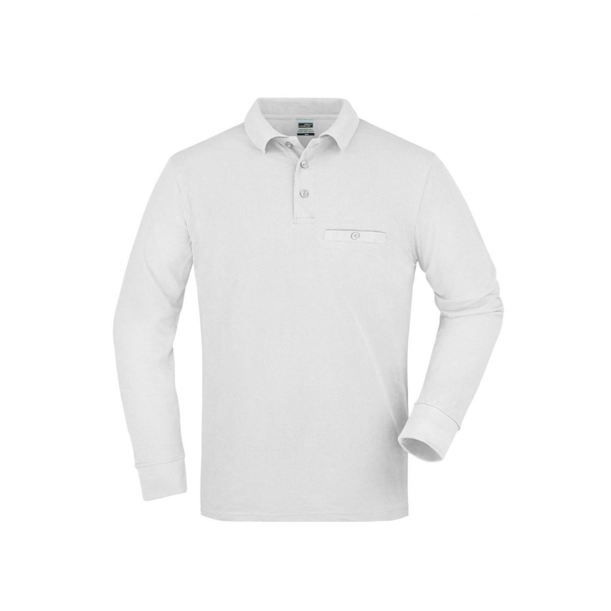 Рубашка поло мужская JN866 Mens Workwear Polo Pocket Longsleeve - Белый