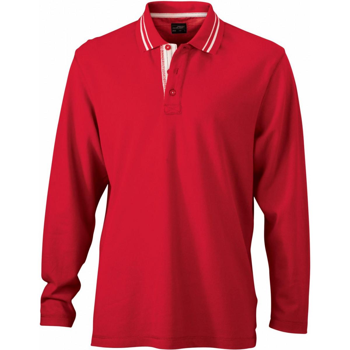 Рубашка поло мужская JN968 Mens Polo Long-Sleeved - Красный/Белый