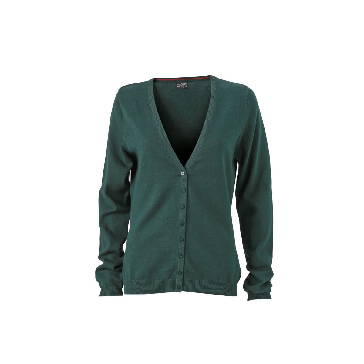 Кардиган женский JN660 Ladies V-Neck Cardigan - Темно-зеленый