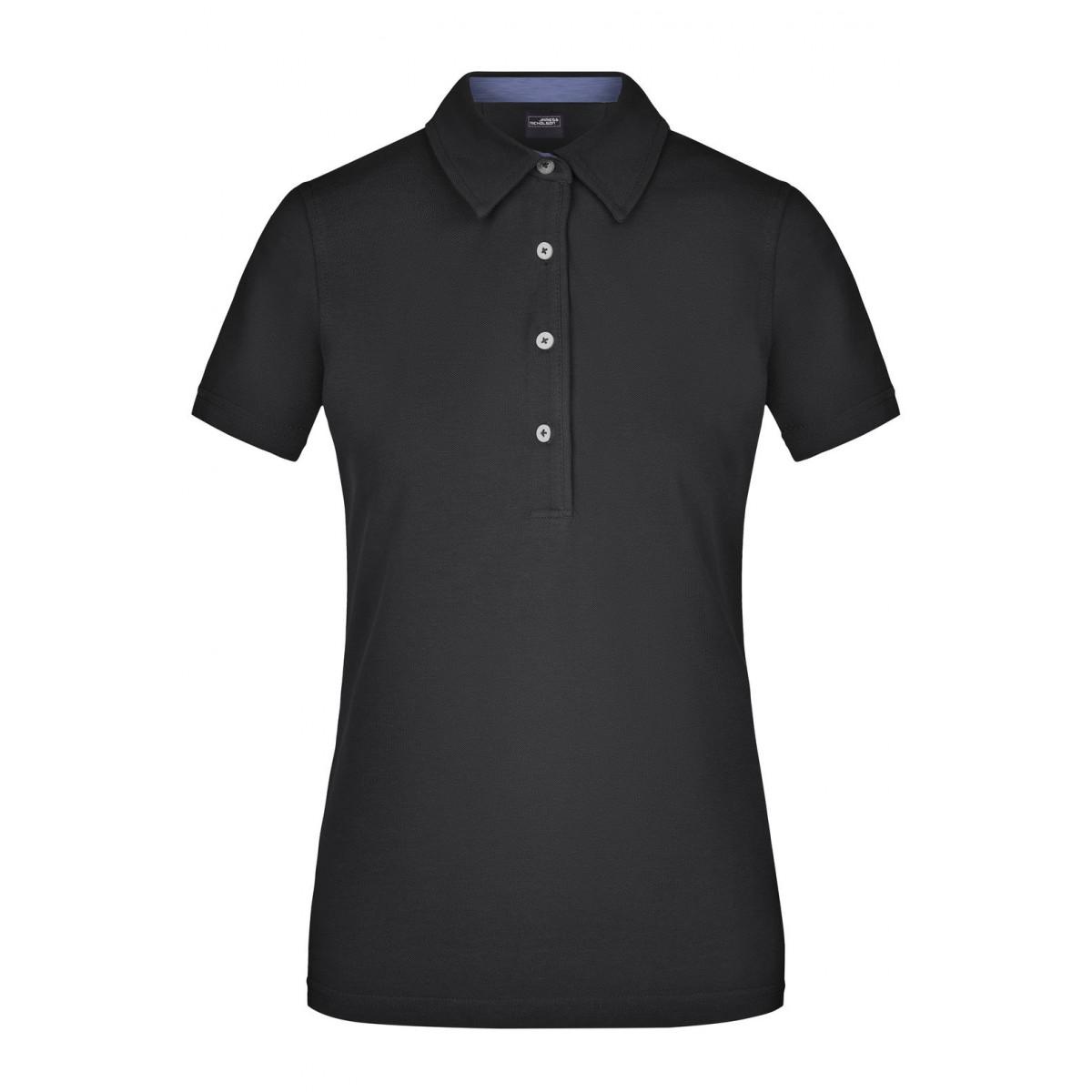 Рубашка поло женская JN969 Ladies Plain Polo - Черный/Светлый джинс