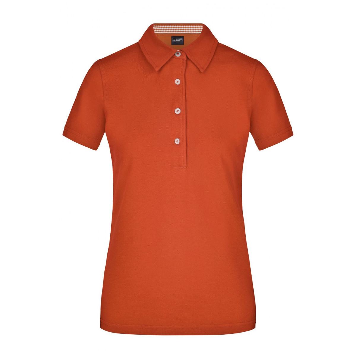 Рубашка поло женская JN969 Ladies Plain Polo - Темно-оранжевый/Темно-оранжевый/Белый