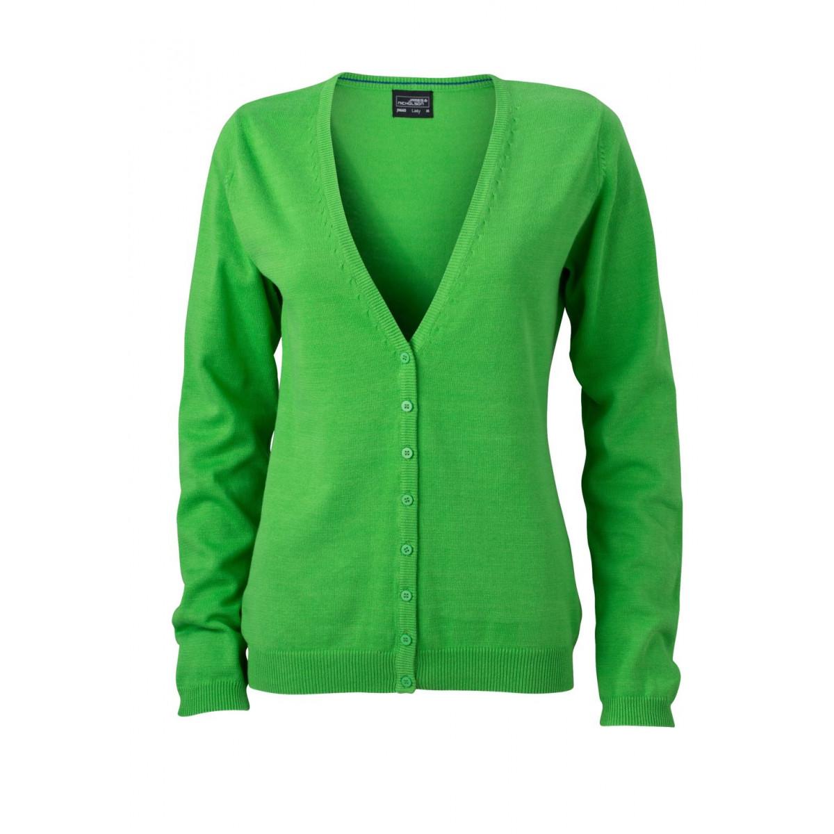 Кардиган женский JN660 Ladies V-Neck Cardigan - Насыщенный зеленый