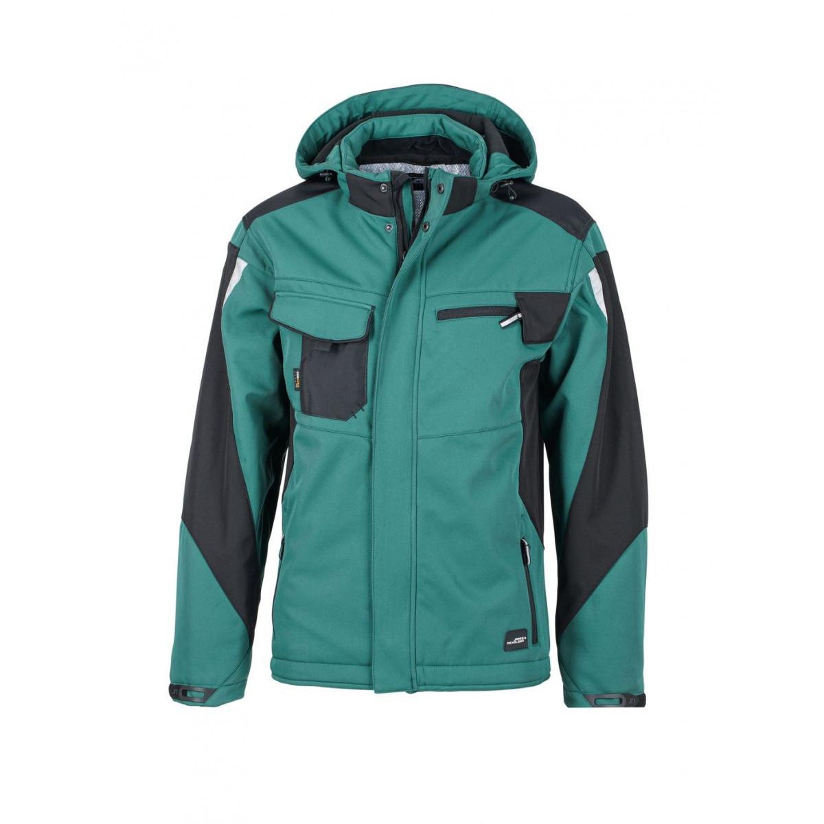 Куртка мужская JN824 Craftsmen Softshell Jacket - Темно-зеленый/Черный