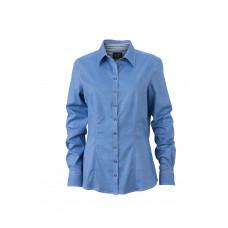 Рубашка женская JN633 Ladies' Blouse - Синий/Темно-синий-Белый