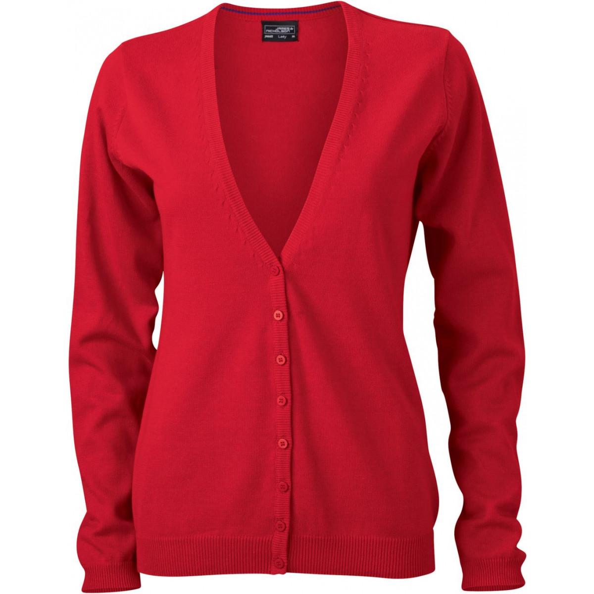 Кардиган женский JN660 Ladies V-Neck Cardigan - Красный