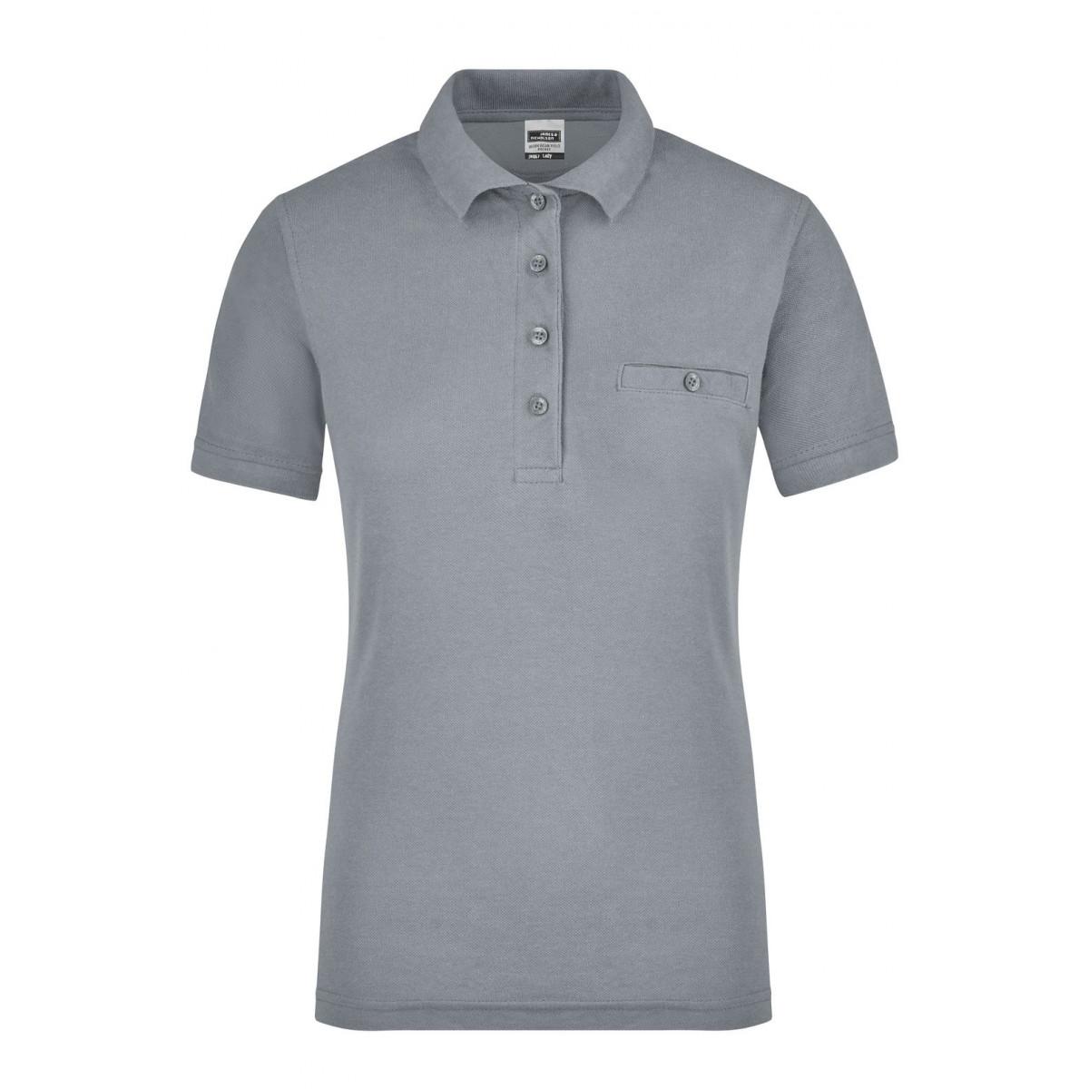 Рубашка поло женская JN867 Ladies Workwear Polo Pocket - Серый меланж