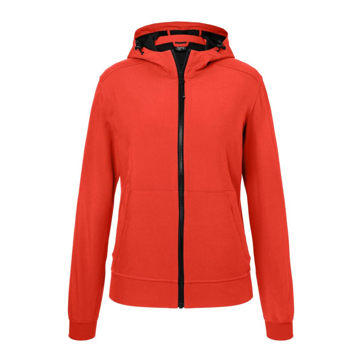 Куртка женская JN1145 Ladies Hooded Softshell Jacket - Ярко-красный/Черный