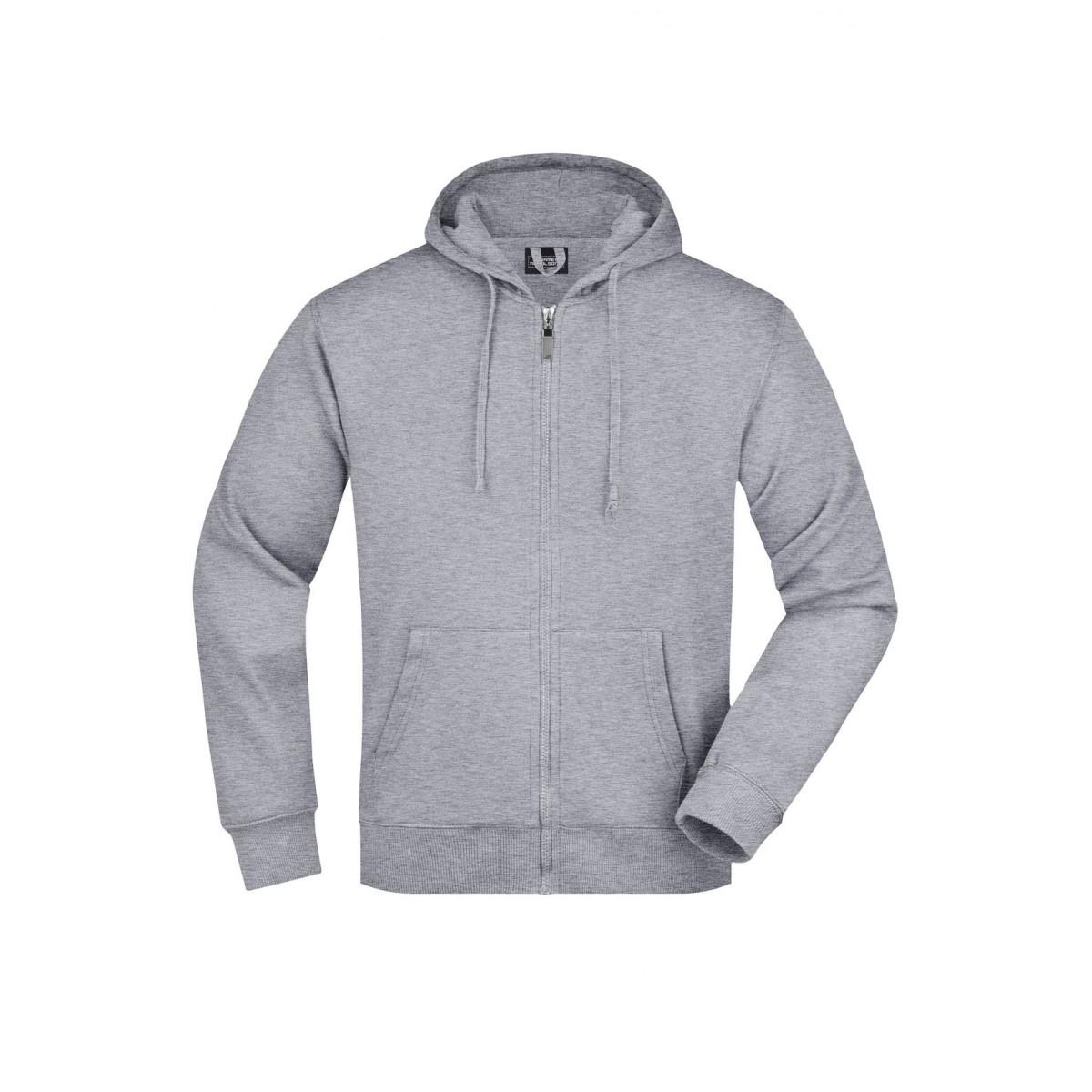Толстовка мужская JN042 Mens Hooded Jacket - Серый меланж