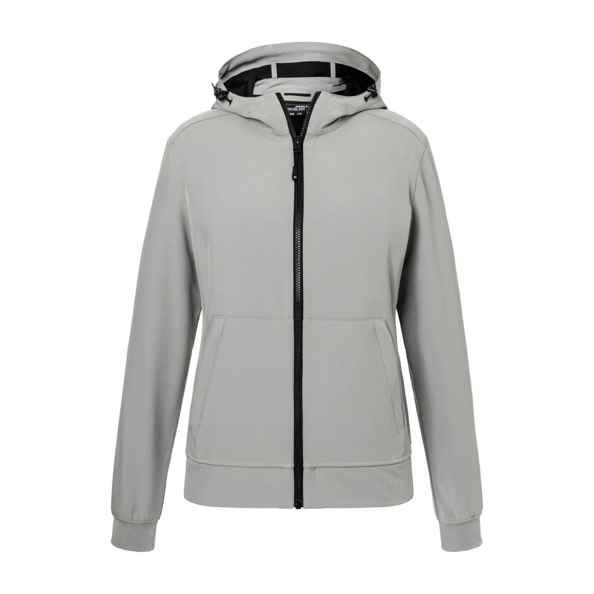 Куртка женская JN1145 Ladies Hooded Softshell Jacket - Светло-серый/Черный