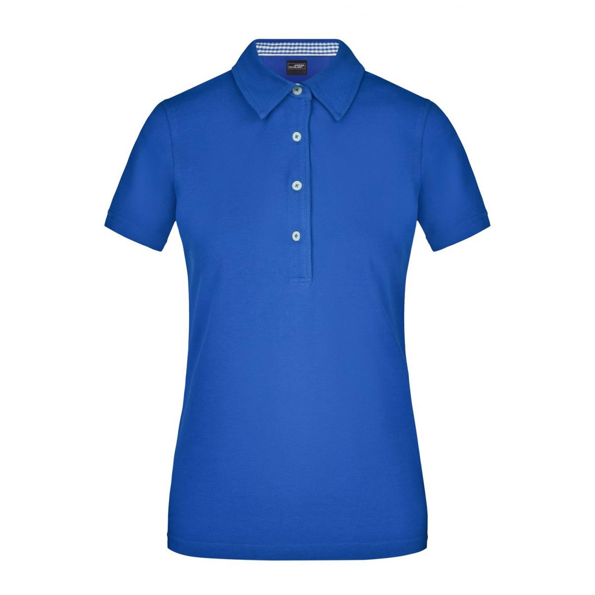 Рубашка поло женская JN969 Ladies Plain Polo - Ярко-синий/Ярко-синий-Белый
