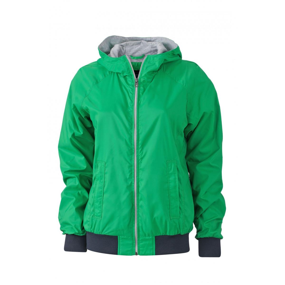 Куртка женская JN1107 Ladies Sports Jacket - Насыщенный зеленый/Темно-синий