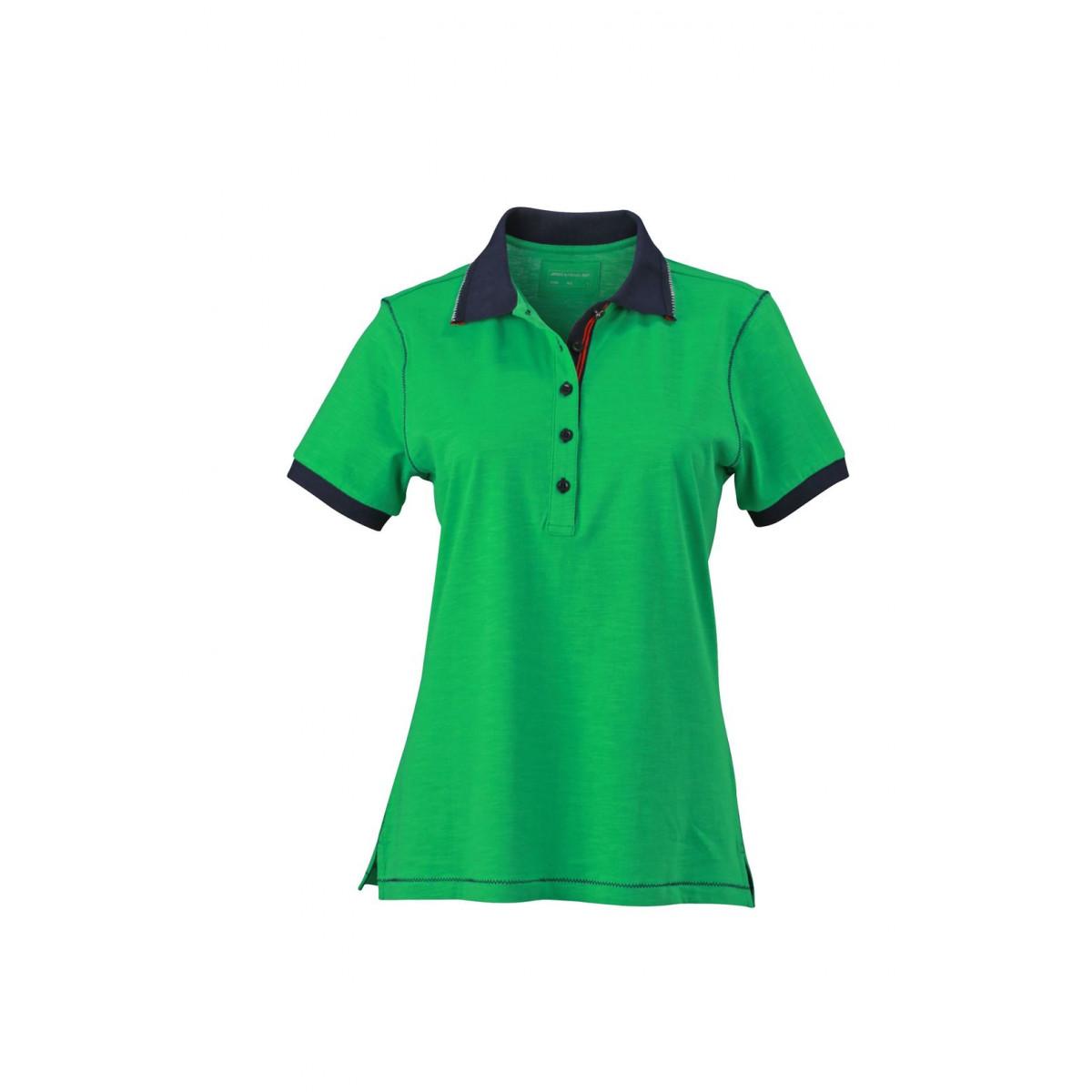 Рубашка поло женская JN979 Ladies Urban Polo - Насыщенный зеленый/Темно-синий