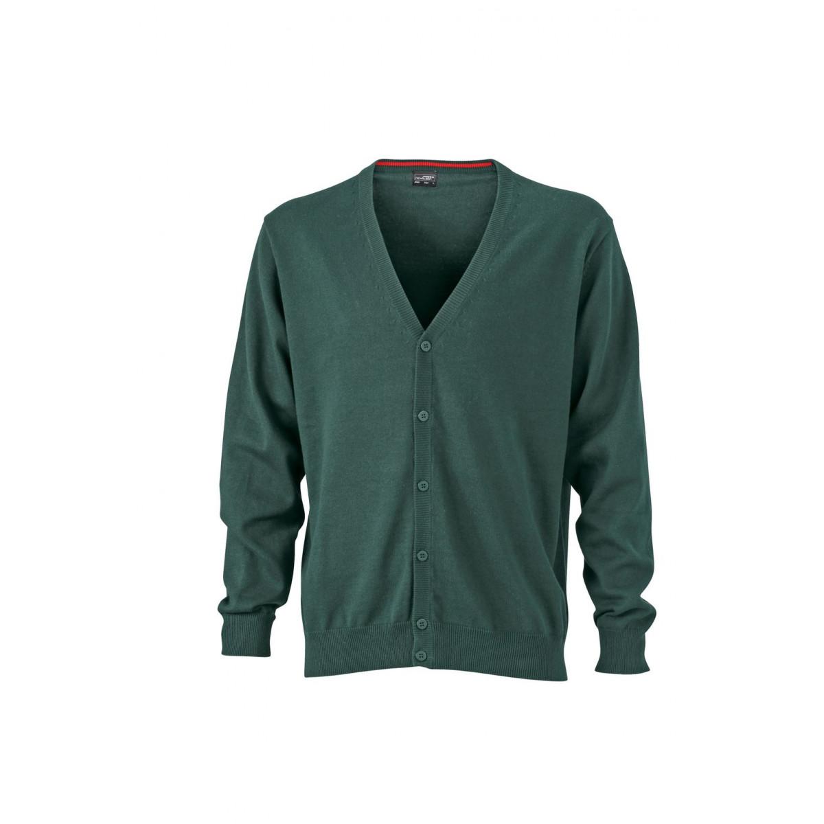 Кардиган мужской JN661 Mens V-Neck Cardigan - Темно-зеленый