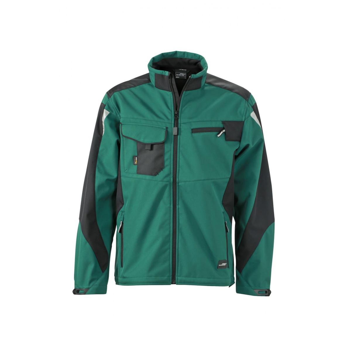 Куртка мужская JN844 Workwear Softshell Jacket - Темно-зеленый/Черный